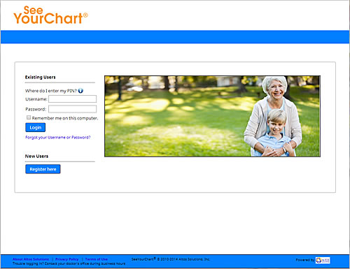 myChart website screen