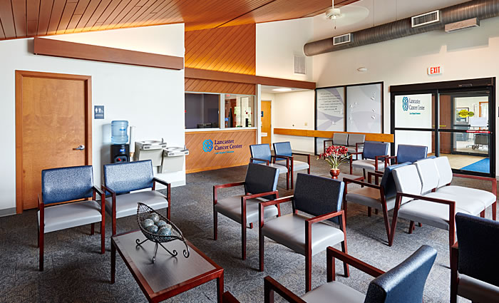 Lancaster Cancer Center lobby, check-in, waiting area